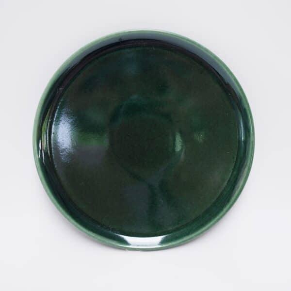 จานเซรามิคแบนสีเขียว